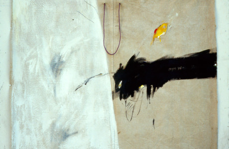 Materiali: olio e acrilico su tela sacco, corda.  <em>dimensioni 108x122 </em>