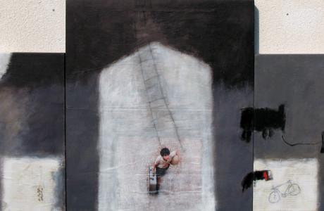Trittico.  Materiali: olio, gesso Bologna, collage su tela.  <em>dimensioni: due tele 60x60, una tela 70x80 </em>