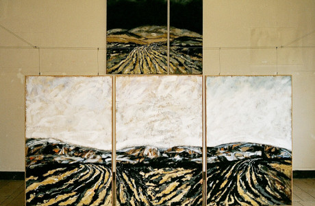 """""""Lorenzago Aperta"""" Lorenzago di Cadore (Belluno).  Installazione: pannelli in legno, tele, silicio. carte, pigmenti, acrilici, cordino in acciaio.  <em>dimensioni: tela 170x150 e tre pannelli 130x180x10 </em>"""