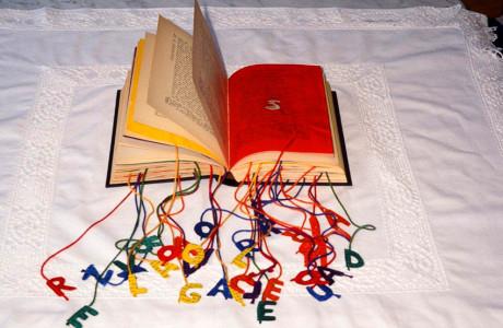Descritti i libri oggetto del vedere, Galleria il Punto V. Veneto (Treviso).    Installazione: libro con testo in greco, fili colorati, acrilici.  <em>dimensioni varie</em>