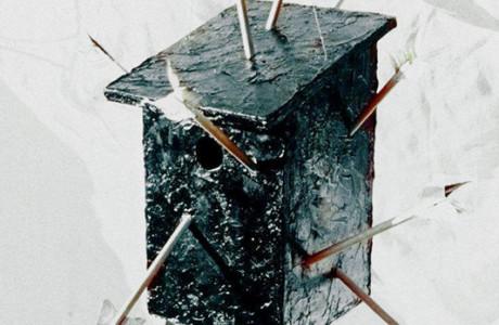 """Le Projet Fou et Genereux"""" - Kortijk (Belgio).  Installazione: tondini e cassetta per uccelli in legno, bitume, piume, rame.  <em>dimensioni varie</em>"""